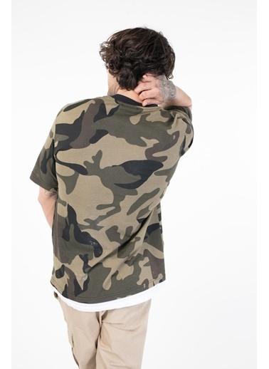 XHAN Haki Yakası Baskılı Kamuflaj Desenli T-Shirt 1Kxe1-44754-09 Haki